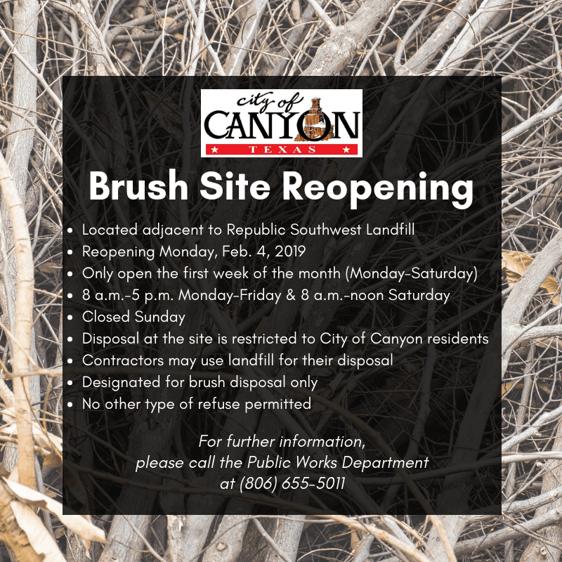 Brush Site Reopening 2/4/2019